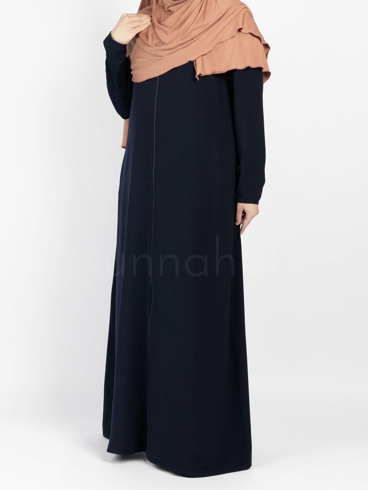 Sunnah Style - Essentials Full Zip Abaya - SLIM (Navy Blue)