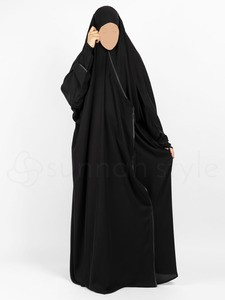 Sunnah Style - Satin Trimmed Crossover Jilbab (Black)
