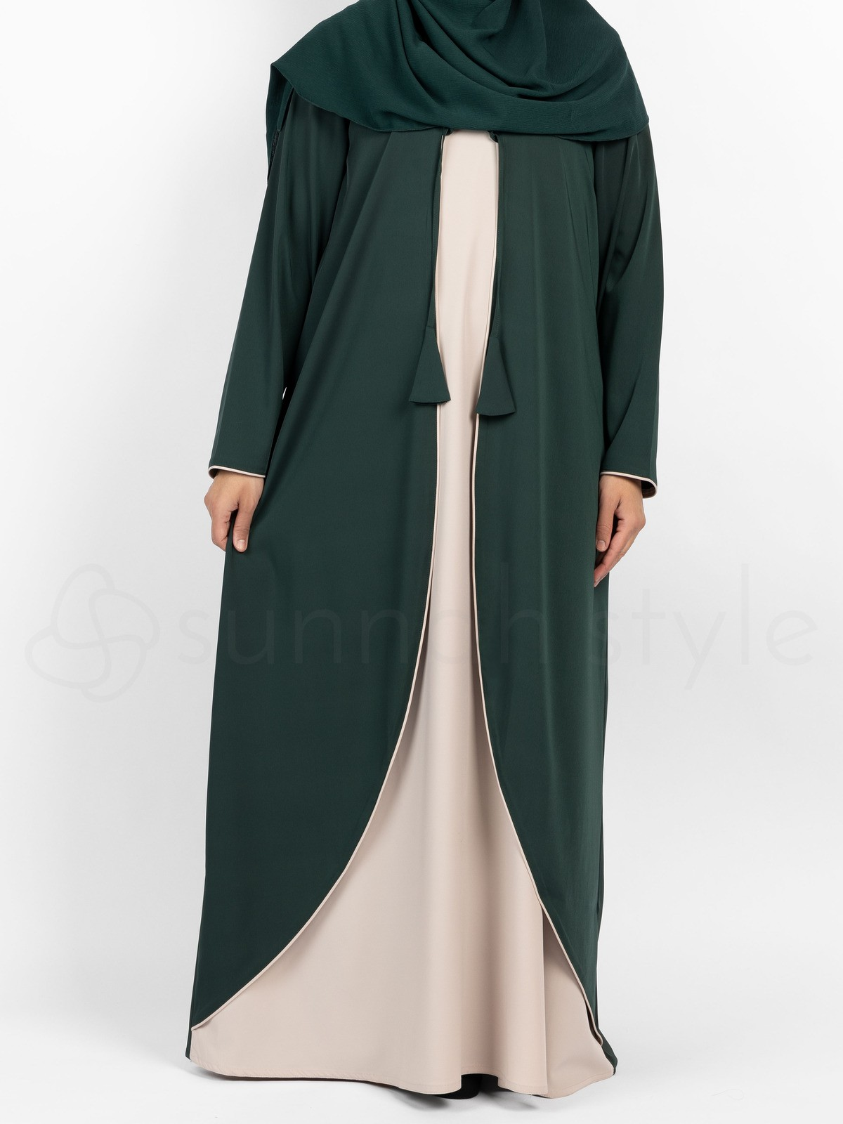 Sunnah Style - Bloom Two Tone Abaya (Pine/Sahara)