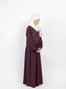 Sunnah Style - Girls Floral Umbrella Abaya (Mulberry)