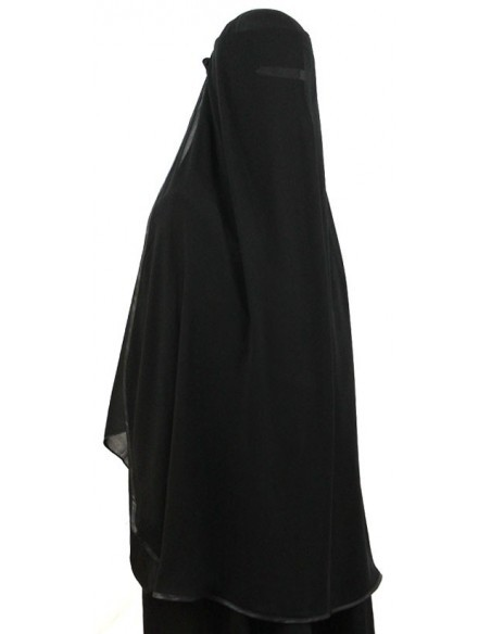 Satin Trimmed Butterfly Niqab (Black)
