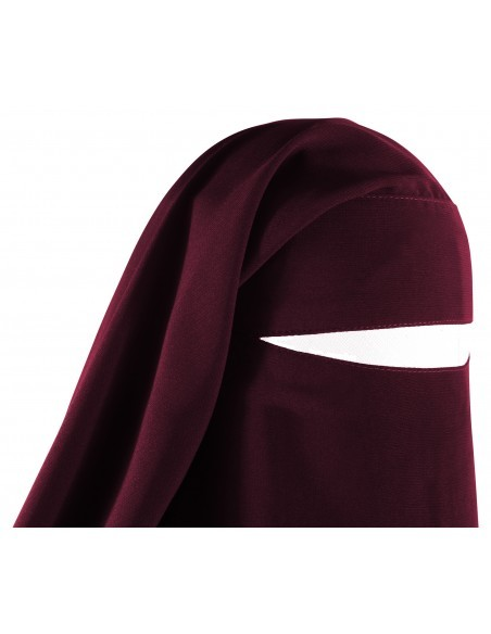 Long Two Piece Niqab (Burgundy)