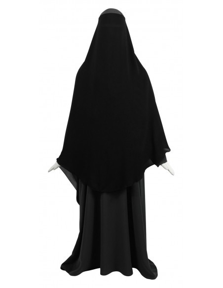 Two Layer Snapp Niqab (Black) - Worn as Option 3 (Bottom Layer Snaps Together, Top Layer Flipped Forward)