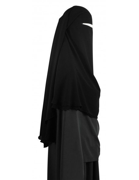 Two Layer Snapp Niqab (Black) - Worn as Option 1 (Bottom Layer Snaps Together, Top Layer Snaps Together)