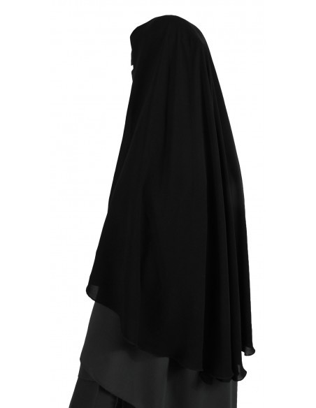 Two Layer Snapp Niqab (Black) - Worn as Option 2 (Bottom Layer Snapped to Top Layer)