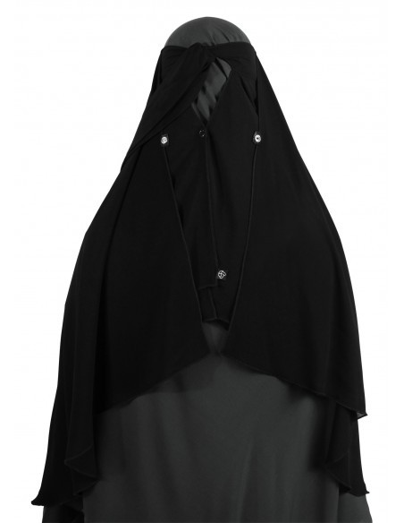 Two Layer Snapp Niqab (Black) - Snaps Open