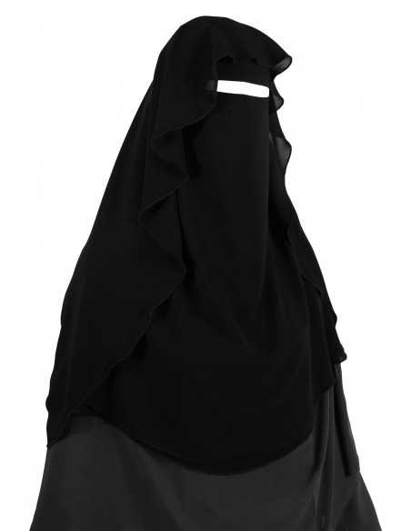 Two Layer Snapp Niqab (Black) - Worn as Option 4 (Top Layer in Butterfly Style)