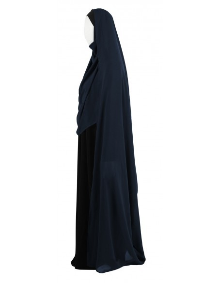 Hooded Wrap Hijab (Navy Blue) - Wrapped Tight