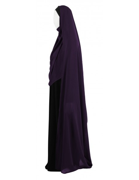Hooded Wrap Hijab (Eggplant) - Wrapped Tight