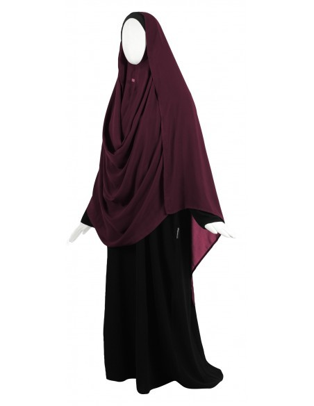 Hooded Wrap Hijab (Burgundy) - Wrapped Loosely
