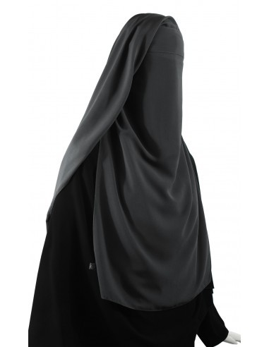 Long Three Piece Niqab (Dark Grey)