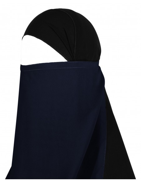Long Tying Half Niqab (Navy Blue)