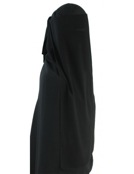 Long Two Piece Niqab (Black)