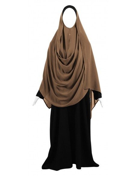 Hooded Wrap Hijab (Caramel) - Wrapped Loosely