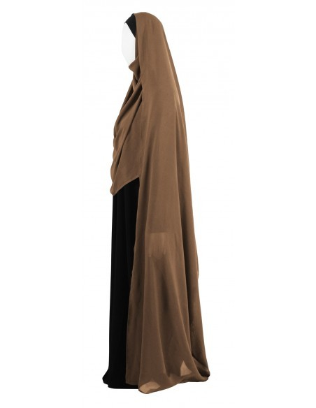 Hooded Wrap Hijab (Caramel) - Wrapped Tight