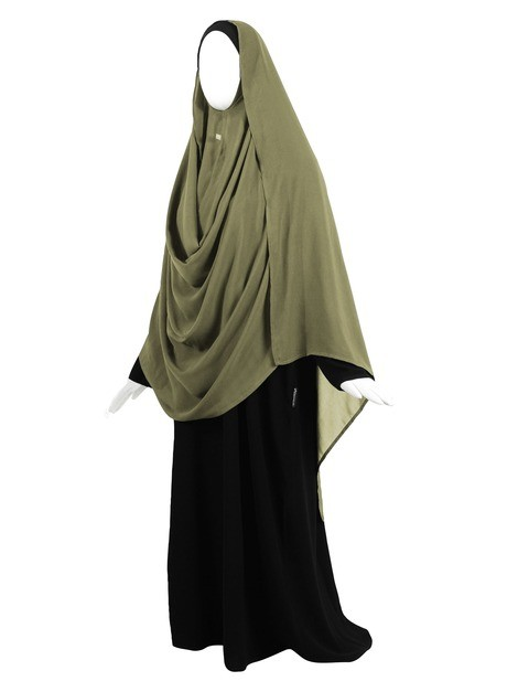 Hooded Wrap Hijab (Moss) - Wrapped Loosely