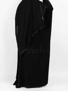 Sunnah Style - Satin Trimmed Butterfly Abaya (Black)