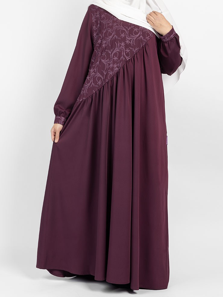 Floral Umbrella Abaya (Mulberry)