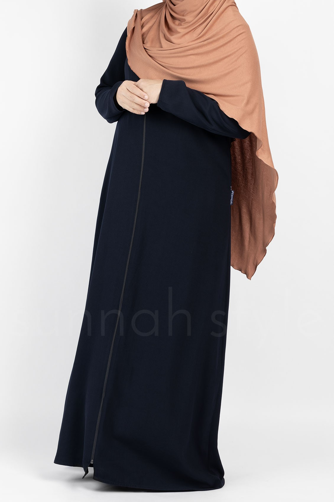 Essentials Full Zip Abaya - Slim (Navy Blue)