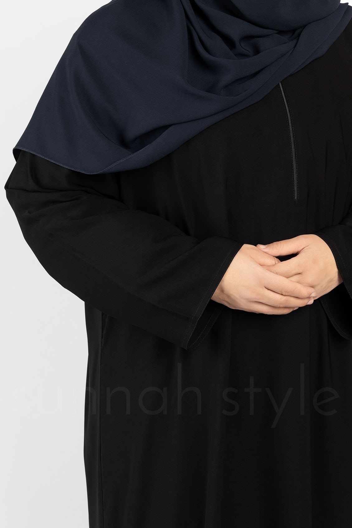 Sunnah Style Plain Closed Abaya Plus Black