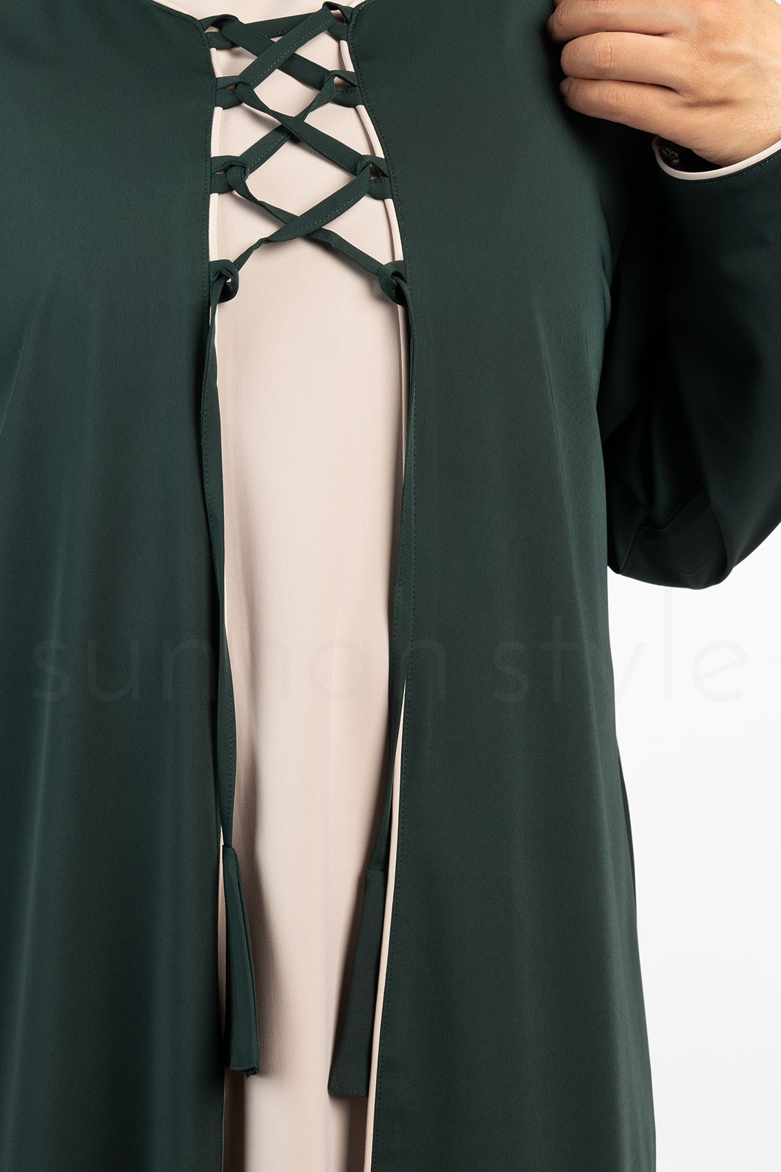 Sunnah Style Bloom Two Tone Abaya Pine Green Sahara