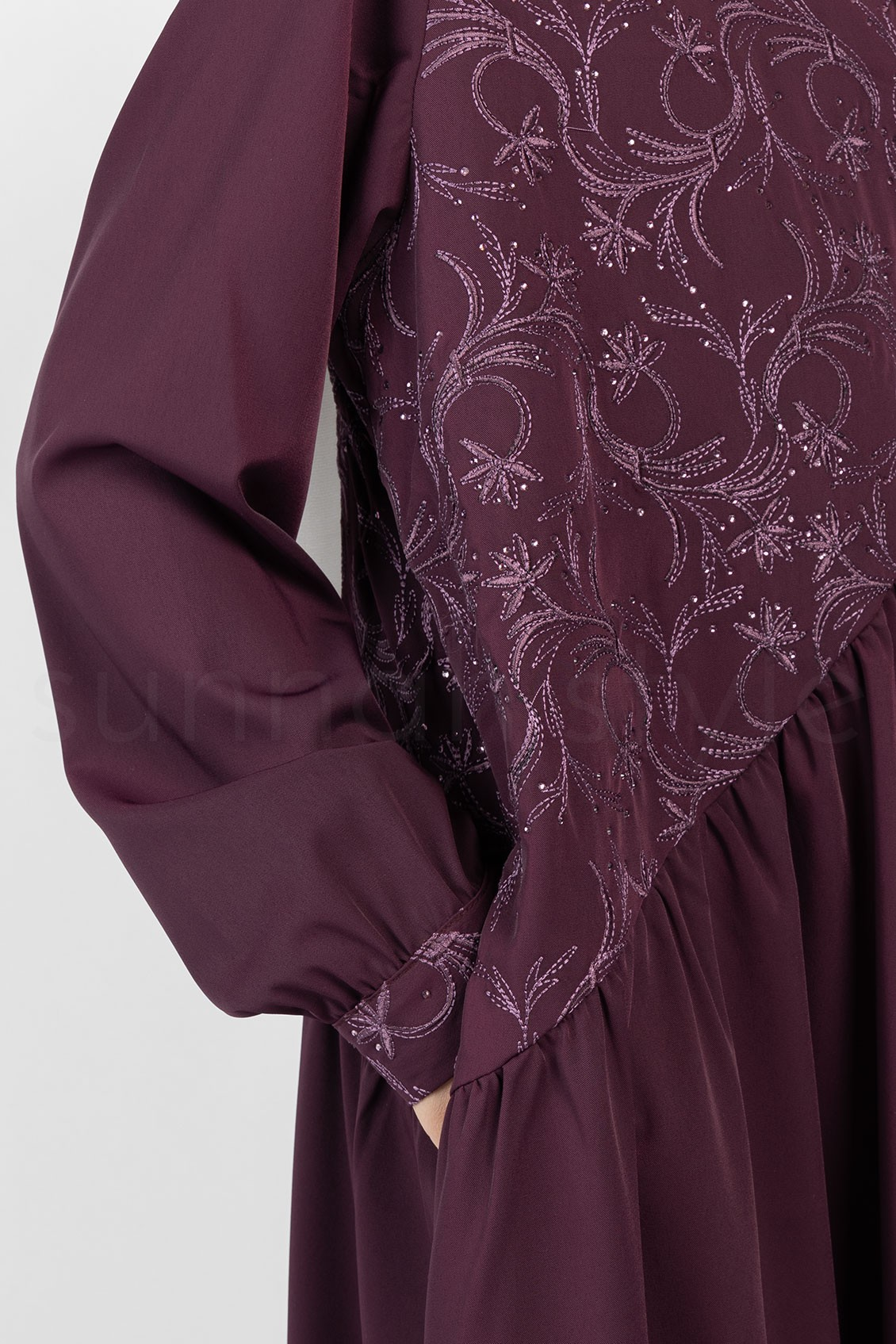 Sunnah Style Girls Floral Umbrella Abaya Mulberry Embroidered