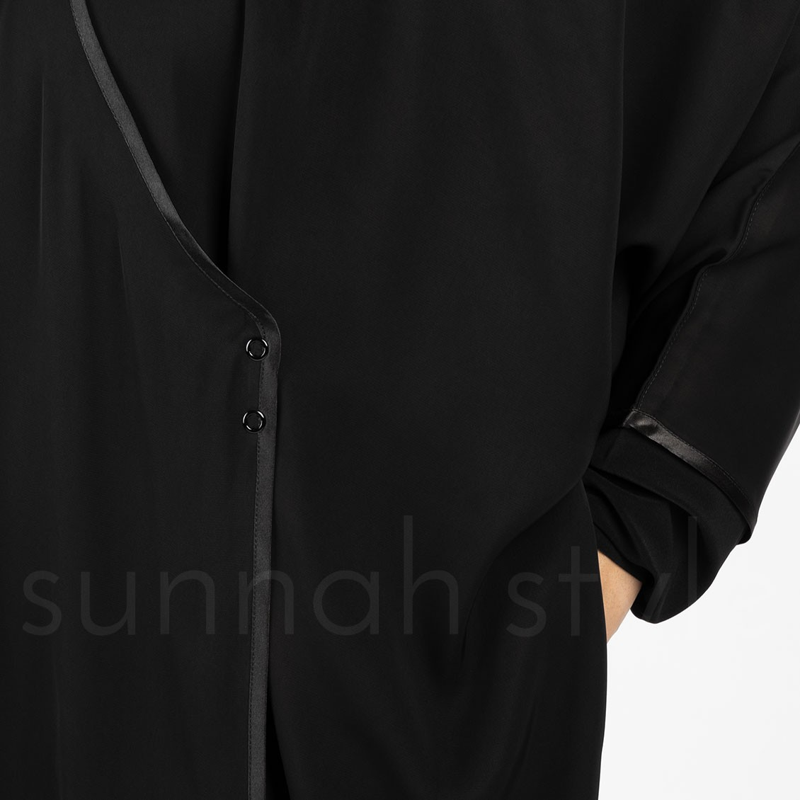 Sunnah Style Satin Trimmed Crossover Jilbab Black